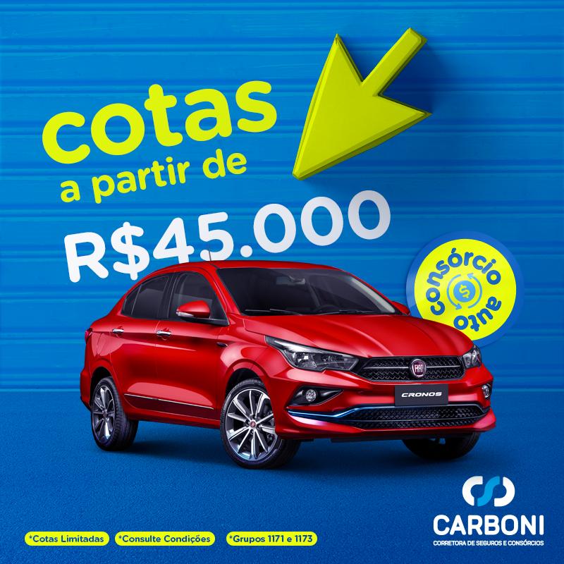 Compre seu novo carro com parcelas iniciais de R$ 263 no Consórcio da Carboni CONSORCIO AUTO 6