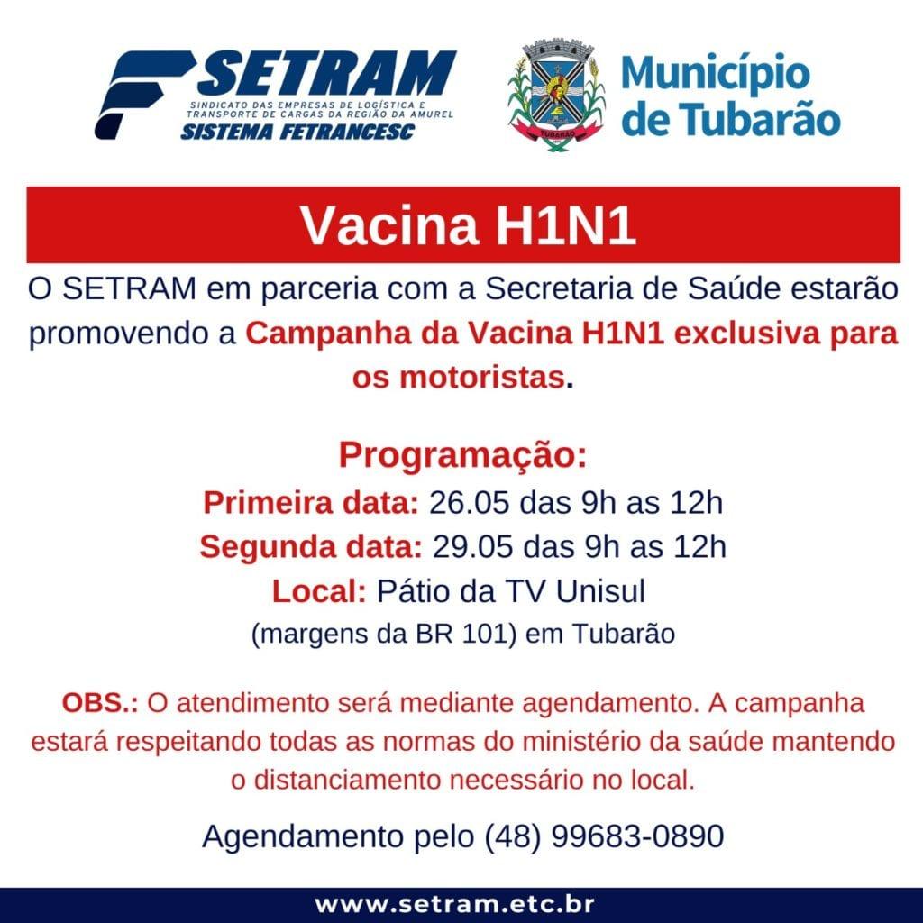 Em Tubarão, Setram e Secretaria de Saúde promovem campanha de vacinação para motoristas 9d3e0adf4342190b4e138b4ef33f4225bffb06d8