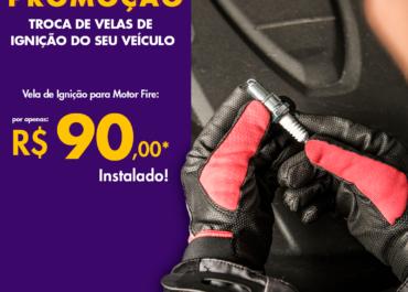 Troca de velas de ignição para Motor Fire por R$ 90,00*