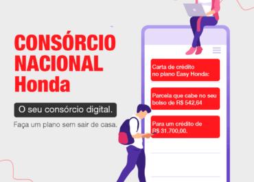 Consórcio Nacional Honda: faça um plano sem sair de casa