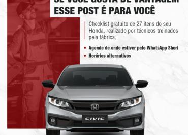 Esse post é para você: checklist gratuito de 27 itens do seu Honda
